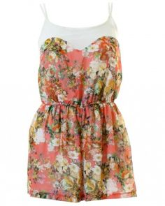 LOVE Pink Forest Print Chiffon Yoke Playsuit - In Love With Fashion