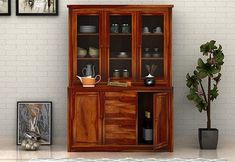 Buy Monarch Kitchen Cabinet (Honey Finish) Online in India - Wooden Street Kitchen Cabinets Models, Solid Wood Kitchen Cabinets, Solid Wood Kitchens, Kitchen Cabinet Storage, Wooden Cabinets, Kitchen Cabinet Design, Crockery Cabinet, Hutch Cabinet, Crockery Units