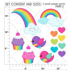 Rainbow girls   Clipart and Digital Paper Set