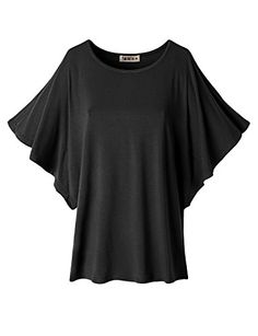 Doublju Women Round Neck Shoulder Vent Design Batwing Sleeve Top include plus  size at Amazon Women s Clothing store  145b0f7ef
