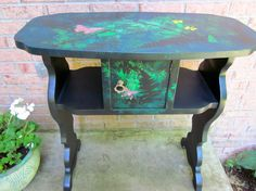 Hand painted accent entry table with ferns and by OverboardStudio, $225.00