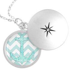 Glitter nautical anchor, teal blue chevron pattern jewelry