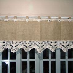 Curtains And Draperies, Home Curtains, Burlap Curtains, Diy Pouf, Kitchen Window Curtains, Diy Ottoman, Crochet Curtains, Shades Blinds, Art N Craft