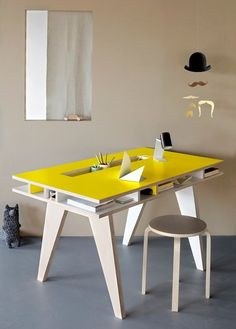 Desk with built-in storage in #yellow