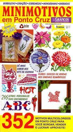 Minimotivos em Punto Cruz 352 БукРCross Stitch Magazines, Cross Stitch Books, Cross Stitch Charts, Cross Stitch Embroidery, Cross Stitch Patterns, Book Crafts, Yarn Crafts, Craft Books, Plastic Canvas