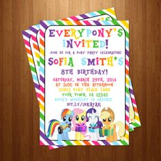 DIY Printable My Little Pony Rainbow Birthday Party Invitation on Etsy, $10.50 my little pony friendship is magic