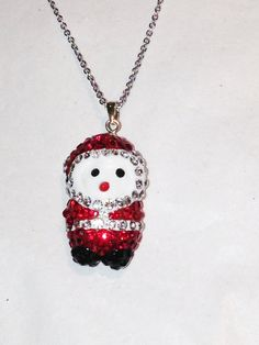 Crystal Santa Necklace Handmade Jewelry by NorthCoastCottage