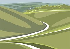 Devils Dyke looking North A3 LTD EDITION PRINT Sage Green. South Downs by ianmitchellprint
