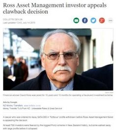 """A lawyer who was ordered to repay $454,000 in """"fictitious"""" profits withdrawn before Ross Asset Management failed is appealing the decision.  At least 700 investors were fleeced by the biggest Ponzi scheme in New Zealand history, but some walked away with large profits before it collapsed."""
