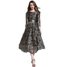 Best Product Runway Vintage Lace Dress Spring 2017 Women O Neck 3 4 Sleeve Long Maxi Dress Pleated Evening Party Dresses Vestidos Belt  Evaluate -