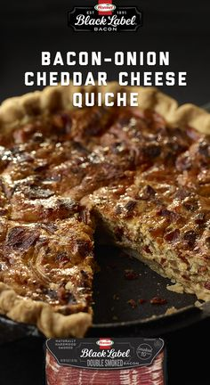 Take your quiche to the next level with BLACK LABEL® Double Smoked Bacon.   Bacon Onion Cheddar Cheese Quiche   BLACK LABEL® Bacon   Double Smoked Bacon Bacon Bacon, Smoked Bacon, Cheese Quiche, Cheddar Cheese, Bacon Breakfast, Breakfast Ideas, Bacon Wrapped, Quiches, Brunch Recipes