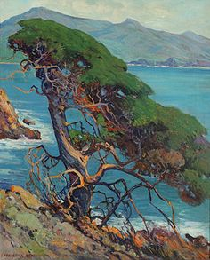 "Frederick William Becker, ""Cypress Tree,"" Oil on canvas #fineart #michaans http://www.michaans.com/frederick-william-becker-painting-auction/"