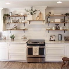 Chic Kitchen Shelves Decor Steals is a daily deal home decor store featuring CRAZY deals on Vintage decor, Rustic decor, Farmhouse Decor, Industrial Decor and Shabby Chic decor! Grab your morning coffee everyday at EST & come Join us! Industrial Farmhouse Decor, Modern Farmhouse Kitchens, Farmhouse Kitchen Decor, Kitchen Redo, New Kitchen, Home Kitchens, Kitchen Backsplash, Kitchen Ideas, Rustic Decor