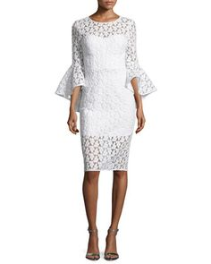 Anya Bell-Sleeve Embroidered Sheath Dress, White by Milly at Neiman Marcus.