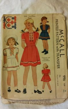 Vtg 1942 McCall Sewing Pattern 996 Girl 2pc Dress Transfer Mexican Cross Stitch | eBay