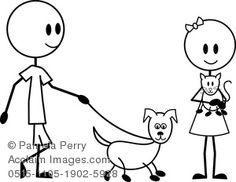 Clip Art Image of a Stick Figure Boy and Girl With Their Pets
