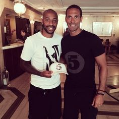 Good times in Brazil with the man @ThierryHenry rep ping the #5unity cap niiiiiicely! #rioinrio #RioFerdinand