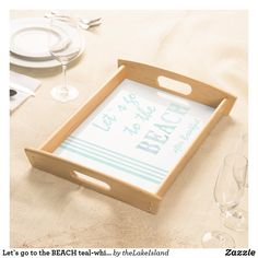 Let`s go to the BEACH teal-white striped custom Serving Tray