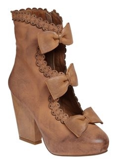 Carmilla Boot by Jeffrey Campbell - Brown, Bows, Cutout, Trim, Party, Work, Casual, Vintage Inspired