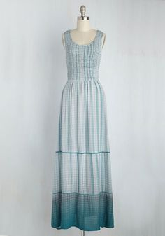 Given Fair Morning Dress. Though the forecast predicted it, you didnt believe it until now - the perfect weather for flaunting this mist grey maxi dress! #blue #modcloth