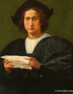 Rosso Fiorentino (1494-1540) – Portrait of a young man holding a letter (1518) National Gallery, London