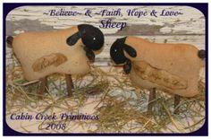 PatternMart.com ::. PatternMart: Believe & Faith, Hope & Love Sheep Primitive Pattern PM