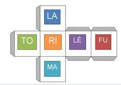 Lecture de logatomes: trois dés ayant des syllabes comme celles-ci (certaines plus difficiles) sont disponibles sur le site ci-bas. L'élève lance les dés et invente un mot. Cela empêche les enfants qui ont tendance à deviner la fin du mot de le faire puisque le mot n'existe pas! Il s'exercent donc à accélérer leur vitesse et leur qualité de lecture. http://onaya.eklablog.com/lecture-de-logatomes-a98494413