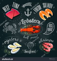 Chalkboard seafood ADs - tuna, salmon, lobster, oysters and shrimps. Seafood Stock, Seafood Menu, Seafood Market, Seafood Restaurant, Menu Illustration, Food Illustrations, Chalkboard Designs, Chalkboard Art, Frames
