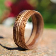 Men's Bentwood Ring Walnut with Double Maple Inlays by tpursell on Etsy https://www.etsy.com/listing/107555994/mens-bentwood-ring-walnut-with-double