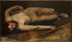 Edgar Degas 'Male Nude' oil on canvas