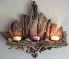 SOLDBeautiful Driftwood Shelf Candle Sconce By by DevonDriftwood