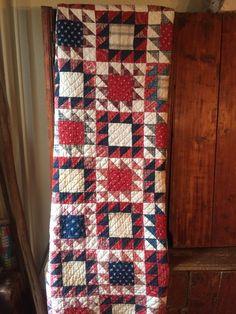 Old vintage antique indigo blue calico fabric handmade quilt cutter textile AAFA