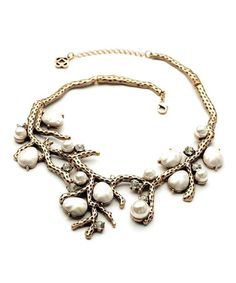 Another great find on #zulily! Faux Pearl & Goldtone Ishtar Bib Necklace #zulilyfinds