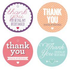 Freebie 09 08 12 Free Printable Bridesmaids Thank You Tags