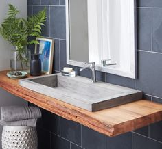 Bathroom. rectangle grey concrete sink and steel faucet with brown wooden base floating on grey tiles bathroom wall. Wonderful Design Of Concrete Trough Sinks To Decorate Your Bathroom