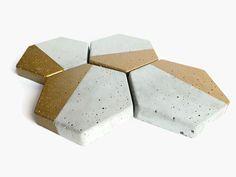 Hexagon Concrete Coasters Gold Home Decor Modern Simple