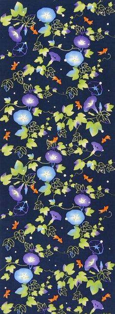 Japanese Tenugui Towel Cotton Fabric, Kawaii Goldfish, Morning Glory, Night Dream, Hand Dyed Fabric, Modern Art Wall, Gift Idea, JapanLovelyCrafts