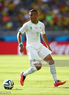 Faouzi Ghoulam of Algeria controls the ball during the 2014 FIFA World Cup Brazil Group H match between Belgium and Algeria at Estadio Mineirao on...