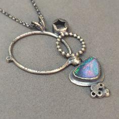 opal oxidized sterling silver modern art jewelry by jaimejofisher