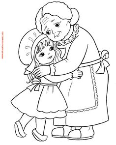 little girl and her grandmother. Coloring page for kids (illustration of Little Red Riding Hood). Camping Coloring Pages, Cute Coloring Pages, Coloring Sheets, Coloring Books, Embroidery Patterns, Hand Embroidery, Red Riding Hood Party, Princess And The Pea, Art Drawings For Kids