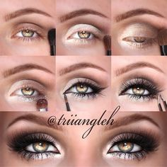 Gold eye makeup.