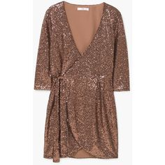 MANGO Sequined Dress (534.145 IDR) ❤ liked on Polyvore featuring dresses, mango dresses, three quarter sleeve dresses, 3/4 sleeve wrap dress, brown sequin dress and brown dress