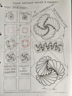 Hamadox. Tangle Pattern and Examples by Diana Schreur, CZT / Didisch website.