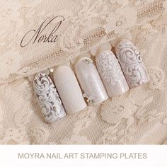 Nail art with Moyra Stamping Plate No. 01 Globetrotter, No. 03 Ornaments, Mini Stamping Plate No. 101 Angels will cry, Moyra SuperShine Colour Gel No. 502 Snow, No 540 Caffe Latte  #moyra #nailart #stamping #plate #globetrotter #ornaments #miniseries #angelswillcry #supershine #colourgel #koromnyomda #koromdiszites #szineszsele #nailpolish #snow #white