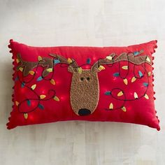 Light-Up Reindeer Lumbar Pillow | Pier 1 Imports