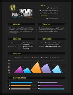 Great fun header and clean overall resume design on this black background resume!  Creative Resume Design, Resume Style, CV, Curriculum Vitae  Creative CV by Jr Panganiban, via Behance