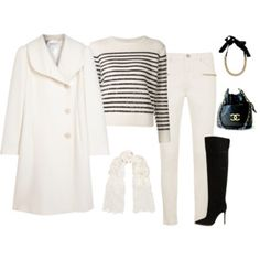FW - DN - JEANS, SWEATER, SCARF, COAT, BOOTS - BLACK & WHITE, SEQUINS