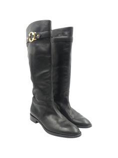28e1138c1db Louis Vuitton Black Leather Gold Fleur Round Toe Sz 6.5 36.5 Tall Riding Boots  Tall