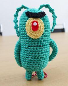 #플랑크톤 화난표정으로 항상 완패 .요것도 샘플작업 ㅎㅎ 더듬이가 한수 #능력치 10 또 올라가요오? #spongebob#spongebobamigurumi #amigurumi #patrick  #squidwardtentacles#스펀지밥#뚱이#징징이#플랭크톤 by sewing_mori Minion Crochet, Crochet Baby Toys, Crochet Animals, Quick Crochet Patterns, Crochet Stitches, Knit Crochet, Amigurumi Patterns, Amigurumi Doll, Knitting Projects