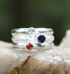 Birthstone Stacking Ring set of 3 Stacking Family & Mother's Rings made with Sterling Silver and Gemstones. Made to Order